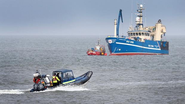 The seach continues at Blacksod Pier after the crash Photo: Steve Humphreys