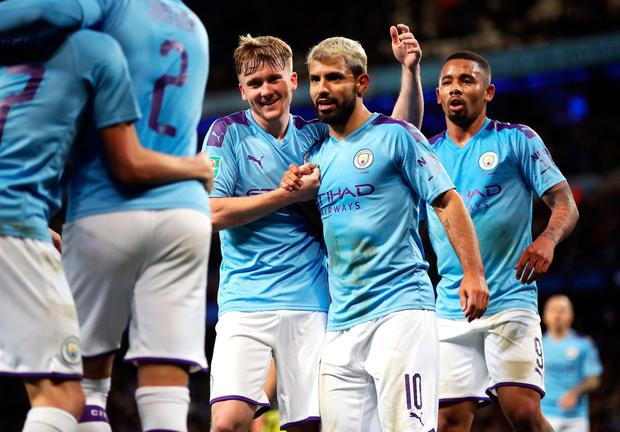 ON TARGET: Manchester City's Sergio Aguero celebrates scoring his side's second goal against Southampton. Photo: Nick Potts/PA Wire
