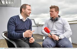 Ger Gilroy (left), one of the presenters of Off The Ball, chats to Brian O'Driscoll.