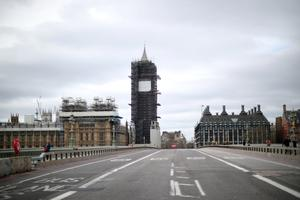 A general view of an empty Westminster bridge in Westminster as the number of coronavirus cases grow around the world. REUTERS/Hannah McKay