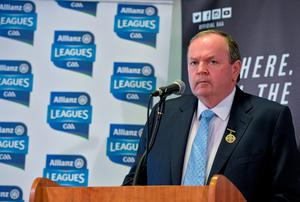 GAA president Liam O'Neill said this week that it would be wrong to proceed with the clock/hooter because it wouldn't work. Photo: Brendan Moran / SPORTSFILE