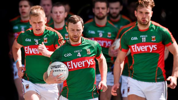 14 June 2015; Mayo captain Keith Higgins leads the Mayo team out for the start of the game against  Galway. Connacht GAA Football Senior Championship Semi-Final, Galway v Mayo. Pearse Stadium, Galway. Picture credit: David Maher / SPORTSFILE