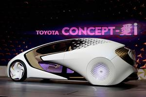 The Toyota Concept-i is unveiled during a news conference at CES International Wednesday, Jan. 4, 2017, in Las Vegas. (AP Photo/Jae C. Hong)