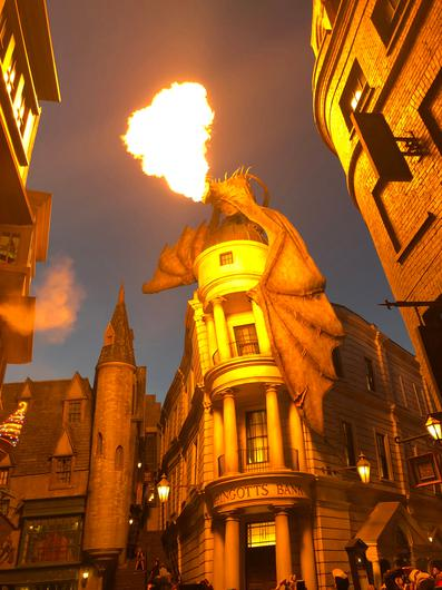 A fire-breathing dragon perches atop Gringotts Bank in Diagon Alley at Universal Orlando. Photo for The Washington Post by Alexandra Pecci