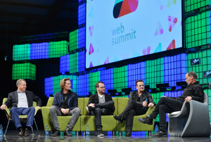 Bono, Musician, Elevation Partners, on the centre stage during Day 3 of the 2014 Web Summit in the RDS, Dublin, Ireland. Photo: Brendan Moran