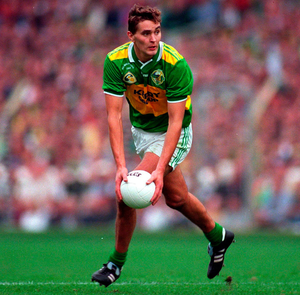 Special talent: Maurice Fitzgerald strikes a familiar pose during the 1997 All-Ireland final victory against Mayo