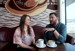 18 March 2015;   Karen Coghlan with Ray Foley. The Art of Coffee, Grand Canal Quay, Dublin. Picture: Caroline Quinn