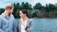 Meghan and Harry left their roles as senior roles in favour of a more private life in Canada (inset, the home they are renting in Vancouver Island)