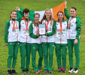 Aoibhe Richardson (left) with team-mates Una Britton, Fionnuala McCormack, Mary Mulhare, Fionnuala Ross and Ciara Mageean after winning a team silver medal in the senior women's event at the 2019 European Cross Country Championships in Lisbon. Photo: Sportsfile