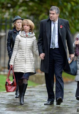 Helen Worth and husband Trevor Dawson arriving for the funeral of Lynda Bellingham at St Bartholomew's Church in Crewkerne, Somerset Andrew Matthews/PA Wire