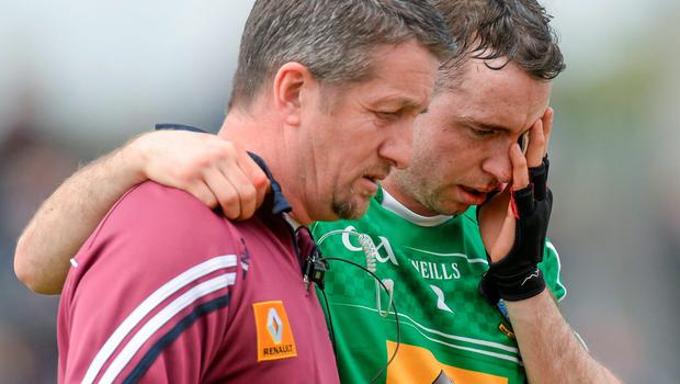 Westmeath's Shane Power leaves the field after picking up an injury during the warm-up