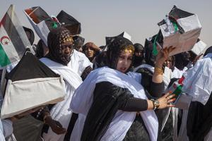 Women in tradition dress, 27th of February celebrations, Smara Refugee camp, Sahara.  Picture: Clare Keogh