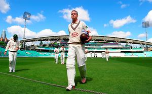 Kevin Pietersen of Surrey leaves the field at the end of the Surrey innings on 355 not out during day three of the LV County Championship match between Surrey and Leicestershire