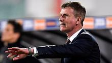 New direction: Republic of Ireland manager Stephen Kenny issuing instructions to his charges last night. Photo: Sportsfile