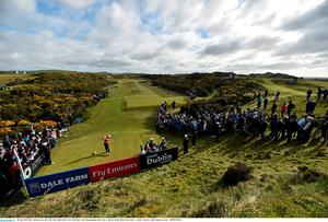 28 May 2015; Rory McIlroy tees off on the 13th. Dubai Duty Free Irish Open Golf Championship 2015, Day 1. Royal County Down Golf Club, Co. Down. Picture credit: Ramsey Cardy / SPORTSFILE