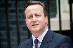 Victorious David Cameron outside 10 Downing Street yesterday