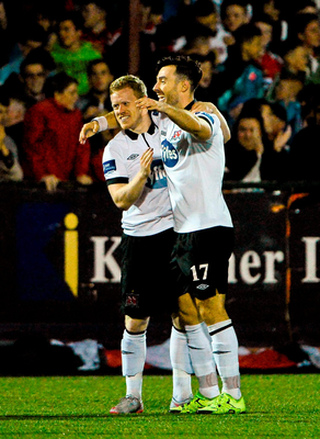 Richie Towell is congratulated by Daryl Horgan after scoring the first of his four goals