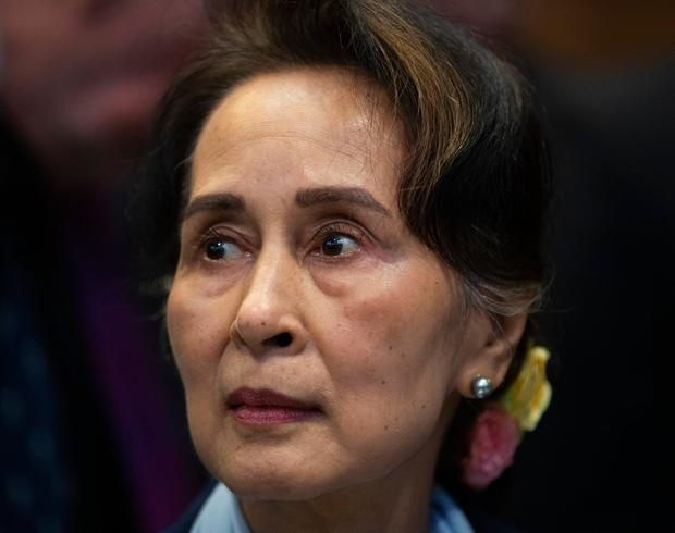 Myanmar's leader Aung San Suu Kyi waits to address judges of the International Court of Justice for the second day of three days of hearings in The Hague.