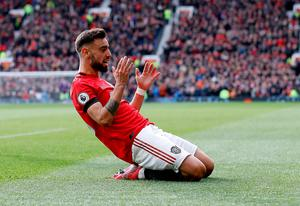 Bruno Fernandes celebrates after putting Manchester United ahead against Watford. Photo: Martin Rickett/PA Wire