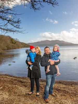 Ciaran Byrne with his wife Martha Kearns and their two children, Ciara and Leo, in Hazelwood, Sligo. Photo: James Connolly