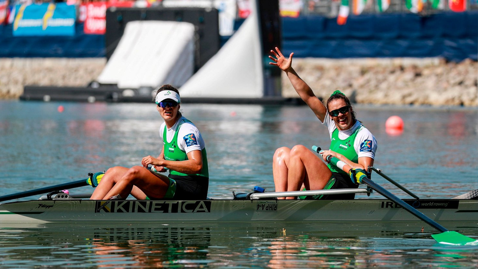Aileen Crowley and Monika Dukarska of Ireland competing in the Women's Pair B Final during the FISA World Rowing Championships 2019 in Linz, Austria. Photo by Andreas Pranter/Sportsfile/Gepa Pictures