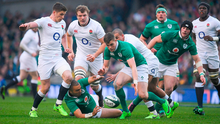 Owen Farrell of England and Simon Zebo and Garry Ringrose of Ireland, right, compete for possession during the RBS Six Nations Rugby Championship match between Ireland and England at the Aviva Stadium in Lansdowne Road, Dublin. Photo by Brendan Moran/Sportsfile