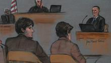A courtroom sketch shows accused Boston Marathon bomber Dzhokhar Tsarnaev (L) and Judge George O'Toole (top) listening as bombing victim Richard Martin's father Bill (top R) testifies, on the second day of Tsarnaev's trial at the federal courthouse in Boston, Massachusetts March 5, 2015. REUTERS/Jane Flavell Collins