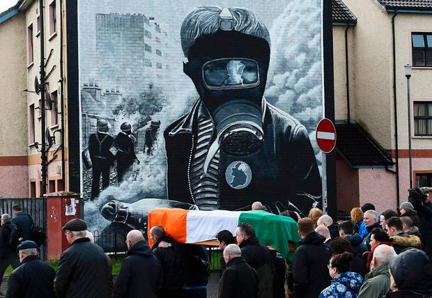 Pall bearers carry the coffin of Martin McGuinness through the streets of Co Derry, Northern Ireland, yesterday. Photo: Reuters/Clodagh Kilcoyne