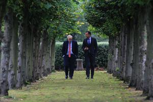 How have Boris and Leo differed in their roadmap approach? File photo of Johnson and Varadkar walking in the gardens of Thornton Manor, near Liverpool. Photo:  Noel Mullen
