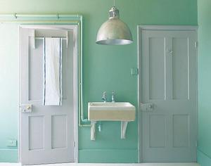 Give salvaged doors a makeover. Doors in Dove Tale No.267; walls in Arsenic No.214, both Farrow & Ball. Sample pots €8. See farrow-ball.com