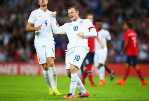 Wayne Rooney celebrates after scoring a from the penalty spot to give England the lead in the friendly against Norway at Wembley. Photo: Ian Walton/Getty Images