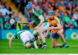 24 May 2015; Richie McCarthy, Limerick, in action against Shane O'Donnell, Clare. Munster GAA Hurling Senior Championship Quarter-Final, Clare v Limerick. Semple Stadium, Thurles, Co. Tipperary. Picture credit: D?ire Brennan / SPORTSFILE