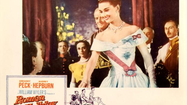 A poster for William Wyler's 1953 comedy 'Roman Holiday' starring Audrey Hepburn.
