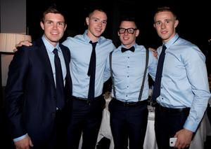 Dublin   players Dara Nelson,Dean Rock,Philly Mc Mahon and Paul Mannion  at the Winners Banquet in The Gibson Hotel