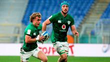 Craig Casey of Ireland, left, and Will Connors during the Six Nations win over Italy in Rome, Italy. Photo: Roberto Bregani/Sportsfile