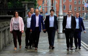 Fianna Fáil Leader Michael Martin TD with his negotiation team (L to R) Anne Rabbitte, Darragh O Brien, Thomas Byrne, Jack Chmabers,Darragh Calleary & Michael McGrath TD during Government talks at Government Buildings, Dublin. Photo: Gareth Chaney/Collins