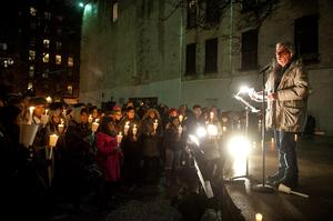 Eric Bogosian speaks during the Candlelight Vigil For Philip Seymour Hoffman at the Labyrinth Theater Company on February 5, 2014 in New York City.  (Photo by D Dipasupil/Getty Images)