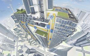 ThyssenKrupp's vision of a technologically-advanced lift system that uses magnets instead of cables to move cabins horizontally as well as vertically