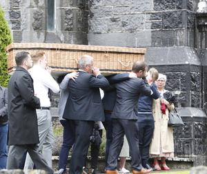 The coffin of Ruth Morrissey arrives at Mary Magdalene Church, Monaleen, Limerick for Requiem Mass.   Ms Morrissey passed away on Sunday at Milford Hospice following a long battle with cancer.  Photograph Liam Burke/Press 22