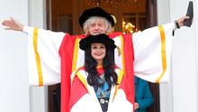 Proud pair: Bob Geldof and novelist Marian Keyes received their honorary doctorates from University of Limerick yesterday. Photo: Damien Eagers