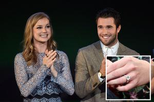 BURBANK, CA - OCTOBER 18:  Actors Emily VanCamp (L) and Joshua Bowman speak at the 24th Annual Environmental Media Awards presented by Toyota and Lexus at Warner Bros. Studio on October 18, 2014 in Burank, California.  (Photo by Michael Buckner/Getty Images  for Environmental Media Awards)