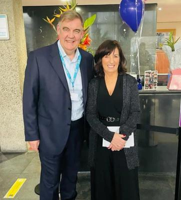 Bryan Dobson with RTÉ staff member Phil Collins
