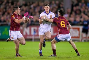 Diarmuid Connolly of St Vincent's attempts to burst through challenges from St Oliver Plunketts Eogha Ruadh duo Declan Lally and James Brogan during the Dublin SFC final at Parnell Park. Photo: Stephen McCarthy / SPORTSFILE