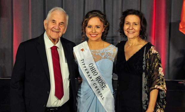 Delight: Christine Smyth celebrates being Ohio Rose with her family