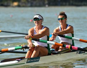 Aileen Crowley, left, and Monika Dukarska of Ireland following victory in their Women's Double Sculls C Final on day eight of the World Rowing Championships in Plovdiv, Bulgaria back in September 2018. Photo: Seb Daly/Sportsfile