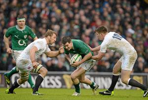 Ireland's Jonathan Sexton, under pressure in last year's Six Nations game against England