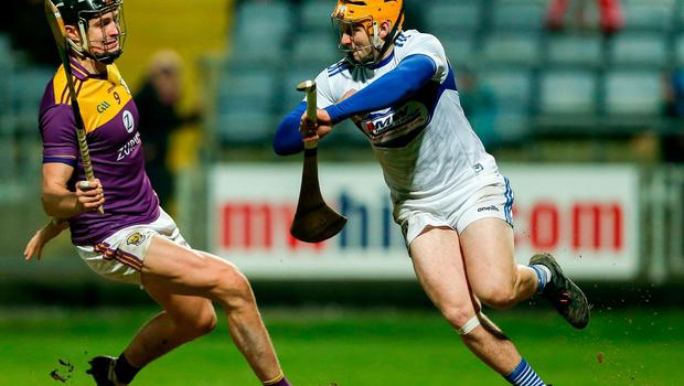 In hurling Enda Rowland has already been coming off his line to score from play for Laois this season. Photo: Michael P Ryan/Sportsfile