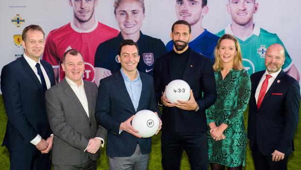 (L-R) SFA CEO Ian Maxwell, IFA CEO Patrick Nelson, BT CEO Marc Allera, Rio Ferdinand, The FA Commercial and Marketing Director Kathryn Swarbrick and FAW CEO Jonathan Ford at the launch of BT's 4-3-3 Strategy. Photo: Anthony Upton