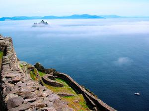 View of Little Skellig emerging from the sea fog from Skellig Michael. Photo: Fáilte Ireland