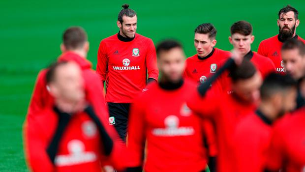Wales' Gareth Bale during a training session at the Vale Resort, Hensol today